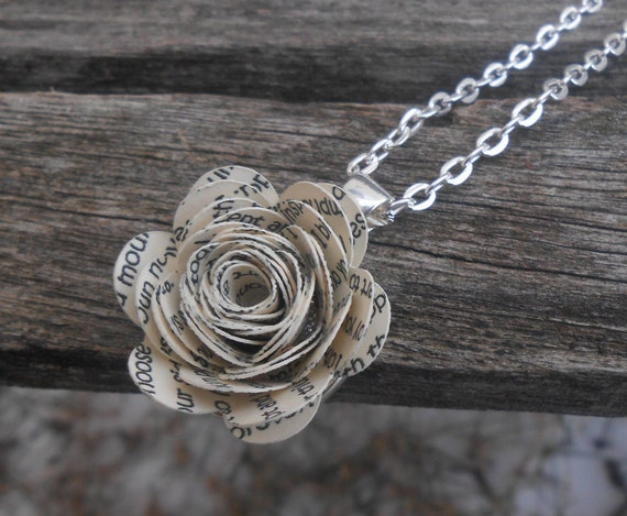 Wedding Vow Flower Necklace. Song Lyrics, Poem. Custom, Personalized. CHOOSE YOUR COLOR.  Unique, Wedding, Anniversary, Birthday, Valentine