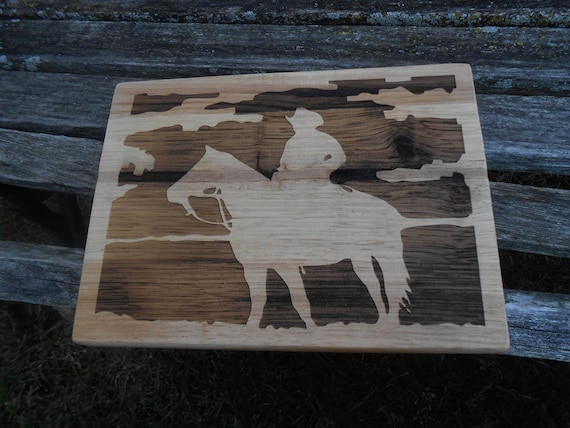 Cowboy Cutting Board, Laser Engraved. Gift For Dad, Fathers Day, Wedding, Christmas, Groom. Western, Horse, Southwest