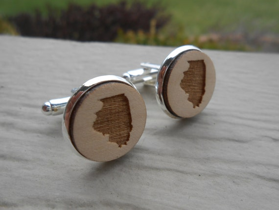 Wood STATE Cufflinks. ILLINOIS. Laser Engraved. Wedding, Men's, Groomsmen Gift, Dad. Custom Orders Welcome. Chicago, Bears, Cubs