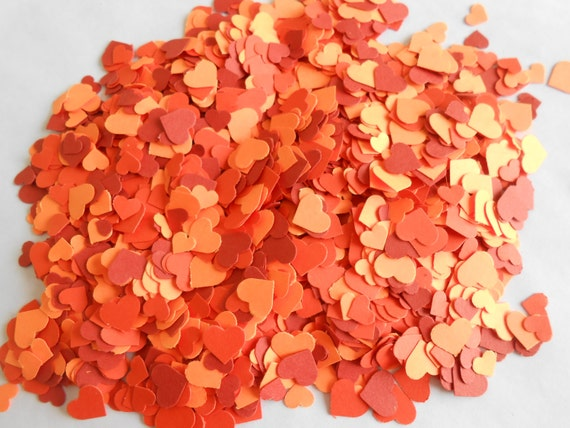 Over 2000 Mini Confetti Hearts. Shades of Orange. Weddings, Showers, Decorations. ANY COLOR Available.