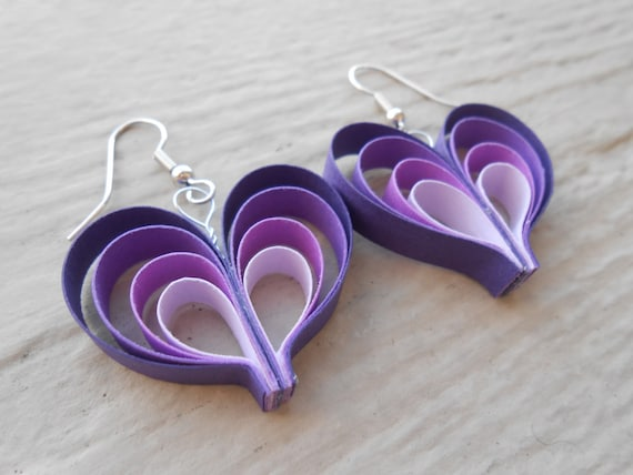 Purple Ombre Earrings. Gift, Mother's Day, First Anniversary, Birthday, Bridesmaids, Bridal. Lavender, Lilac.
