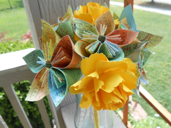 Map Paper Flower Bouquets. You Pick The Colors, Papers, Books, Etc.  Anything Is Possible. CUSTOM ORDERS WELCOME