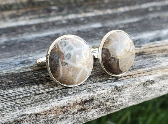 Petoskey Stone Cufflinks. Fossilized Coral. Wedding, Groomsmen Gift, Christmas Gift, Gift For Dad.