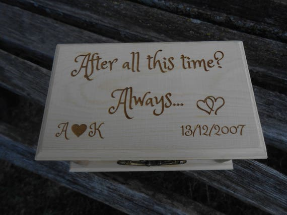 After All This Time? Always Ring Box & Pillow. CHOOSE YOUR PILLOW Style! Personalized. Ring Bearer, Bridal. Chest.