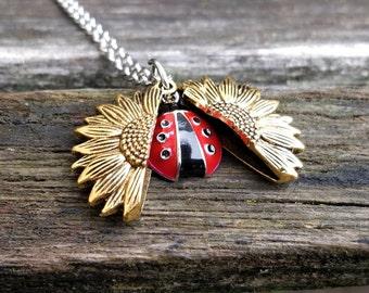 Ladybug & Sunflower Necklace. Sunflower Locket. Gift For Wedding, Bridesmaids, Kids, Anniversary, Birthday, Christmas.