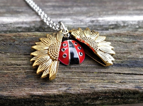 Ladybug & Sunflower Necklace. Sunflower Locket. Gift For Wedding, Bridesmaids, Kids, Anniversary, Birthday, Christmas.