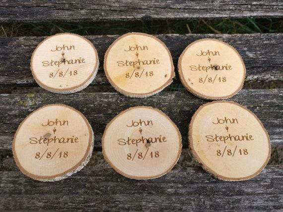 50 PERSONALIZED Initials Wood Rounds. Laser Cut, Rustic Wedding Vase Filler, Confetti. Monogram, Letter