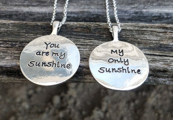 You Are My Sunshine Necklace. CHOOSE 1, 2, OR BOTH. Gift For Wedding, Bridesmaids, Sister, Daughter, Kids, Anniversary, Birthday, Christmas.