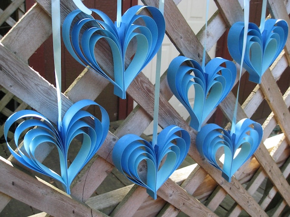 6 Turquoise Blue Rainbow Hearts. Blue Ombre Garland. Wedding, Shower Decoration. Custom Orders Welcome.
