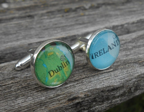 Vintage Map Cufflinks.  CHOOSE YOUR PLACES  Wedding, Anniversary, Christmas Gift, Dad. Ireland