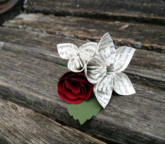 Origami Boutonnieres. CHOOSE YOUR COLORS, Books, Etc. Any Amount, Colors, Theme, Etc. Custom Orders Welcome.