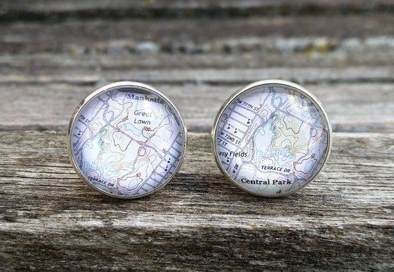 Central Park Map Cufflinks. Choose Your Location. Wedding, Groomsmen, Groom Gift, Dad. Travel, New York City.