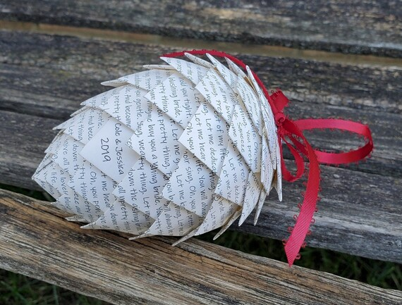 YOUR WEDDING VOWS Pinecone Ornament. Anniversary, Holiday, Christmas Decoration.  Gift, Birthday, First Anniversary. Ornaments.