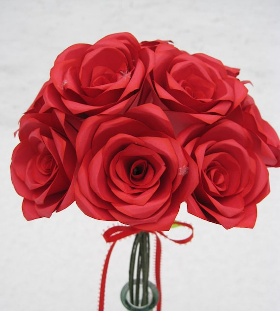 Dozen Red Paper Roses, Wedding Bouquet, Mother's Day Gift, First Anniversary. Unique. ANY COLOR Available.