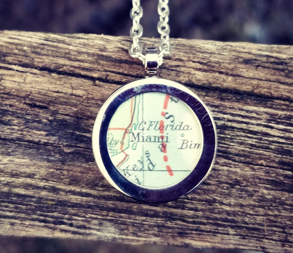 Custom Map Necklace. Anniversary, Birthday, Bridesmaid Gift, Mom, Christmas Travel. Vintage Map. Personalized.
