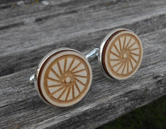 TIRE Cufflinks. Laser Engraved. Wedding, Men's, Groomsmen Gift, Dad. Custom Orders Welcome. Bike, Bicycle, Car, Truck