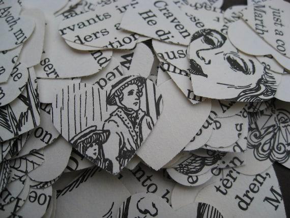 1000 'Secret Garden' Confetti Hearts. 1 inch. Wedding Confetti, Book Confetti.