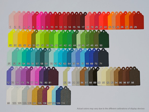 40 Scalloped Tags, CHOOSE SIZE & COLORS. Red, Orange, Yellow, Green, Blue, Purple, Black, White, Brown. Wedding, Favor.