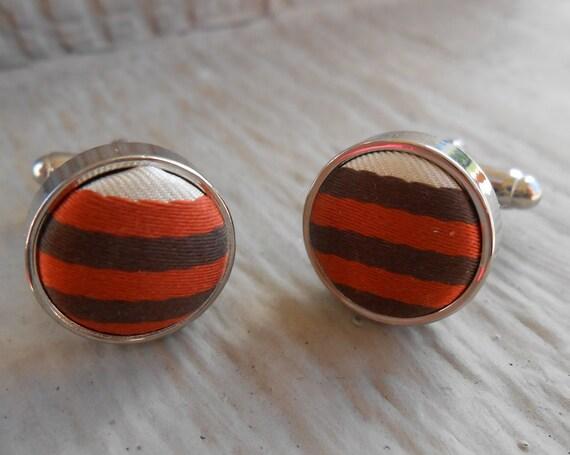 Vintage Fabric Cufflinks. Brown, Orange, & White. Wedding, Men's Gift, Dad, Groomsmen Gift