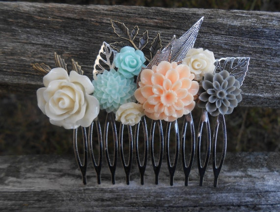 Peach & Mint Hair Comb, Bridal, Bridesmaid Gift.  Shabby Chic Hair Piece. Flower Girl. Mom, Anniversary, Birthday. Grey, Ivory, Gray