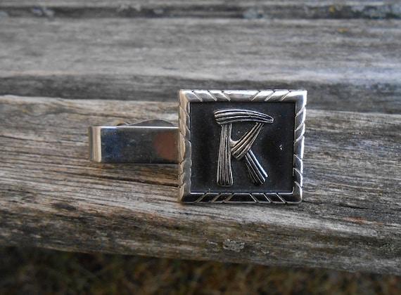 Vintage R Tie Clip.  Monogram. Wedding, Men, Groom, Groomsmen, Anniversary, Birthday, Letter, Name