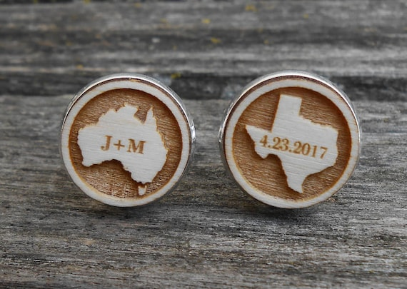 Personalized State Cufflinks. Or Country. Gift For Groom, Wedding, Groomsmen, Dad, Anniversary, Birthday, Citizenship, Father of the Bride.