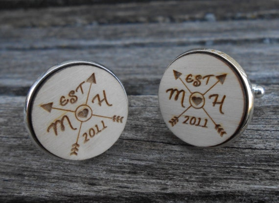 PERSONALIZED Wedding Cufflinks. Wedding, Men's, Groom Gift, Anniversary. Silver Plated. Custom Orders Welcome.