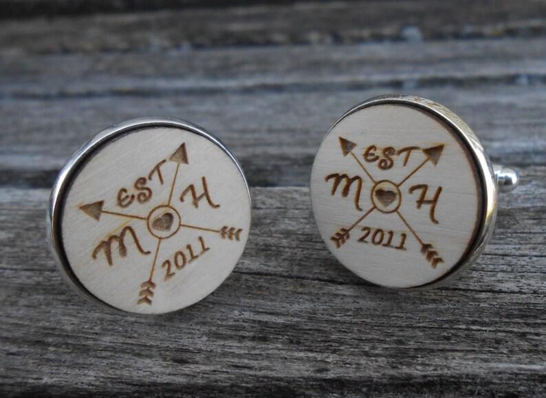 Wedding Anniversary Christmas PERSONALIZED Wedding Cufflinks Groom Gift Custom Orders Welcome.