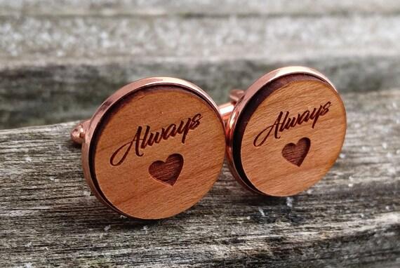 Always Cufflinks. Wedding, Groom Gift, Anniversary, Birthday, Groomsmen, Father's Day. Silver, Gold, Rose Gold, Gunmetal.