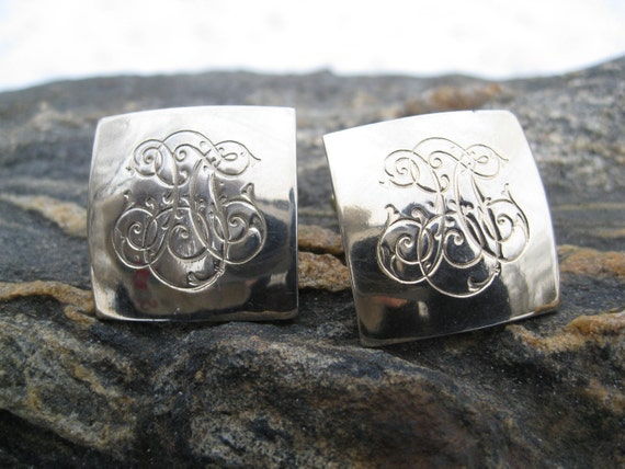 Vintage Engraved Cufflinks. Gifts For Him. Anniversary Gift. Square Cufflinks, Gifts For Dad.
