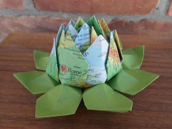 Vintage MAP Origami Lotus. Gift, Wedding Decoration, Favor, First Anniversary. Just Because. Under 10. CUSTOM Orders Welcome.