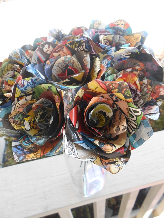 Dozen COMIC BOOK Roses.  Wedding, Birthday, Anniversary, Centerpiece. Gift. Custom Orders Welcome