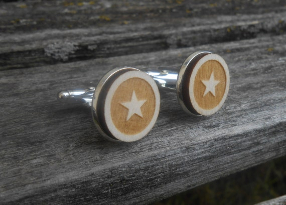 Star Cufflinks. Laser Engraved. Wedding, Men, Groom, Groomsmen Gift, Dad. Fifth Anniversary, Birthday. Sheriff, Military