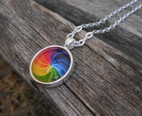 Rainbow Necklace. Abstract Gift. Wedding, Men, Women, Bridesmaid Gift, Anniversary, Birthday. Silver. Swirl