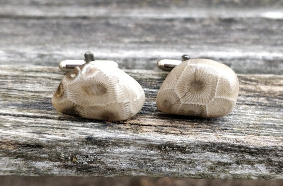 Petoskey Stone Cufflinks. Fossilized Coral. Wedding, Groomsmen Gift, Men's Christmas Gift, Dad. CUSTOM ORDERS Welcome