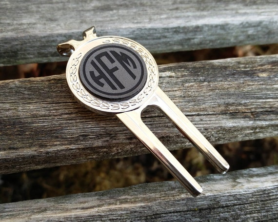 Personalized Golf Divot Tool & Marker. Engraved Leather. Wedding, Groom, Groomsmen Gift, Dad. Anniversary, Birthday, Groom, Valentine's Day