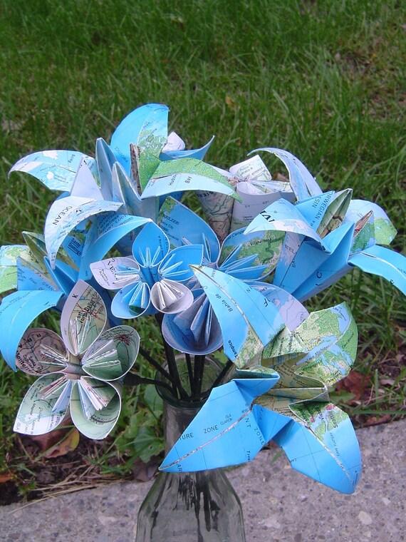 Vintage Map Paper Flower Bouquet. Origami Kusudama, Lily. Anniversary, Birthday, Centerpiece, Wedding