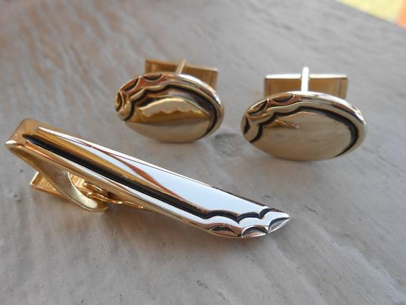 Vintage Abstract Cufflinks & Tie Clip  Christmas, Wedding, Men's, Groomsmen Gift, Dad.