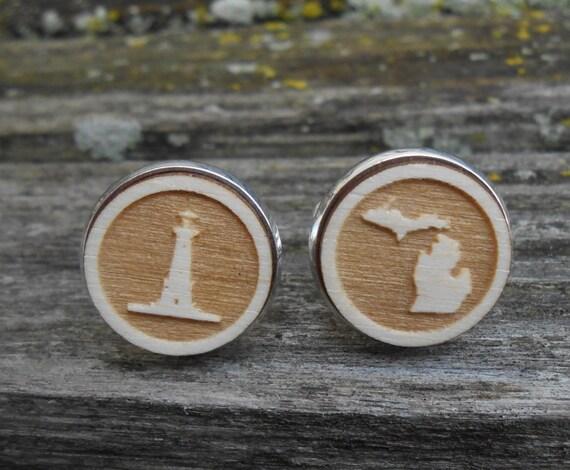 Michigan Lighthouse Cufflinks. Laser Engraved. Wedding, Men's, Groomsmen Gift, Dad. Custom Orders Welcome. Wolverines.