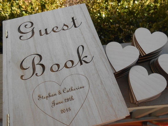 Rustic Guest Book Box, With Hearts. Guest Book Alternative.Wedding Decor.Laser Cut. Custom Orders Welcome.