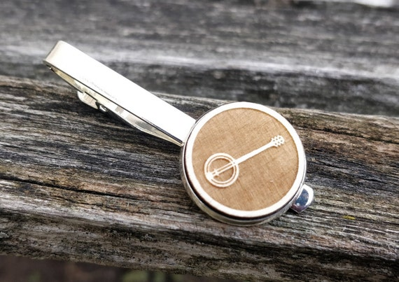 Banjo Tie Clip.  Laser Engraved. Wedding, Men, Groom, Steampunk, Groomsmen Gift, Dad, Musician. Tie Bar, Tie Tack. Banjo.