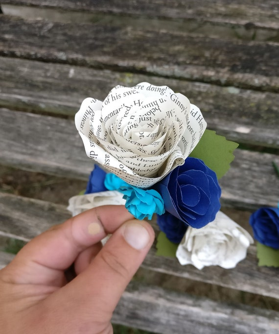 Paper Peony Boutonnieres. CHOOSE YOUR COLORS.  Any Amount, Colors, Theme, Etc. Custom Orders Welcome.
