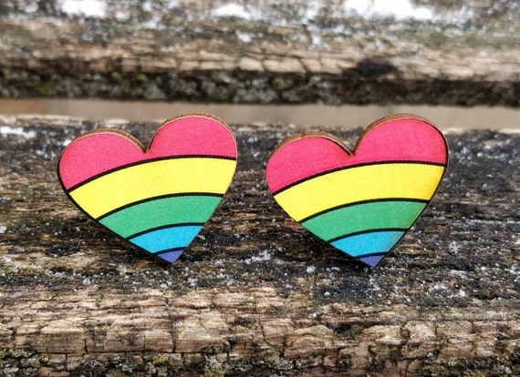 Rainbow Heart Cufflinks. Wedding, Groomsmen Gift, Groom. Anniversary. Gay Pride. Birthday. Valentine's Day