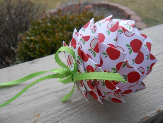 Apple Paper Ball Ornament. TEACHER GIFT, Decoration, Christmas, Gift, Birthday, Anniversary, Wedding. Polka Dot