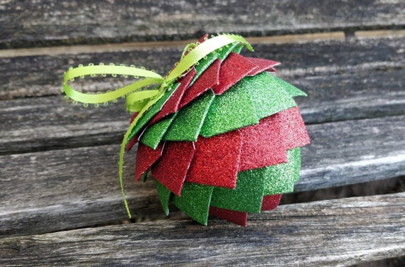 Red & Green Glitter Ornament. Decoration, Christmas, Gift, Birthday, Anniversary, Wedding. Embossed