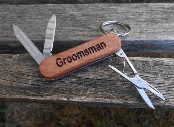 Customized Pocket Knife, Keychain. Laser Engraved Wood. Wedding, Men's, Groomsmen Gift, Dad, Anniversary. Knives
