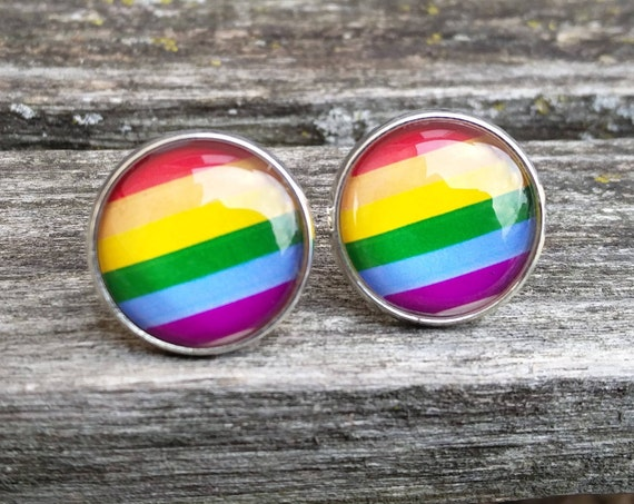 Gay Pride Cufflinks. Anniversary, Wedding, Groomsmen Gift, Groom, Valentine's Day