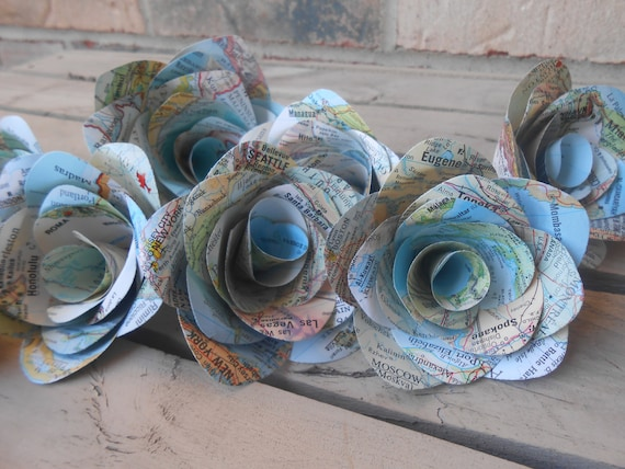 Map Roses, Mini Paper Decorations. Favor,Cake Topper, Garland, Weddings, Shower, Travel, Destination