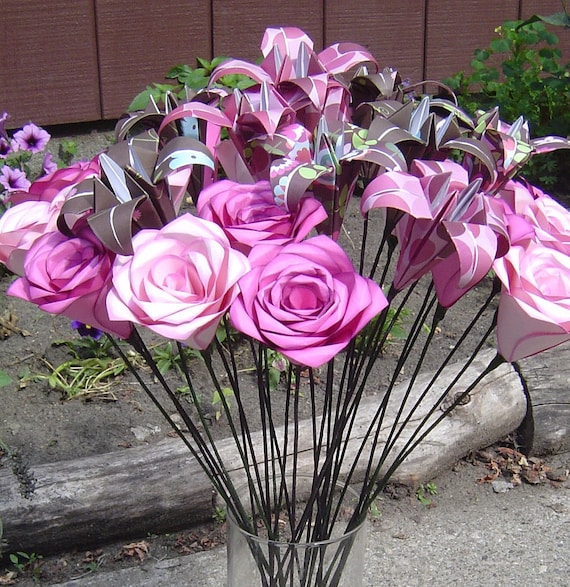 Rose & Lily Centerpiece. Your Choice Of Colors, Flowers. Wedding, Shower, Party, Gift.