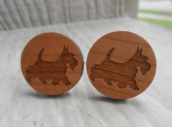 Wood Scottish Terrier Cufflinks. Scottie. Wedding, Men's, Groomsmen Gift, Dad. Silver Plated. Custom Orders Welcome.